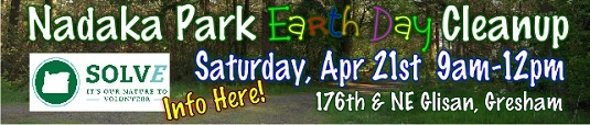 SOLV IT Earth Day at Nadaka Nature Park Clean-up Event: Sat April 21, 2018 9AM-12PM. Info here!