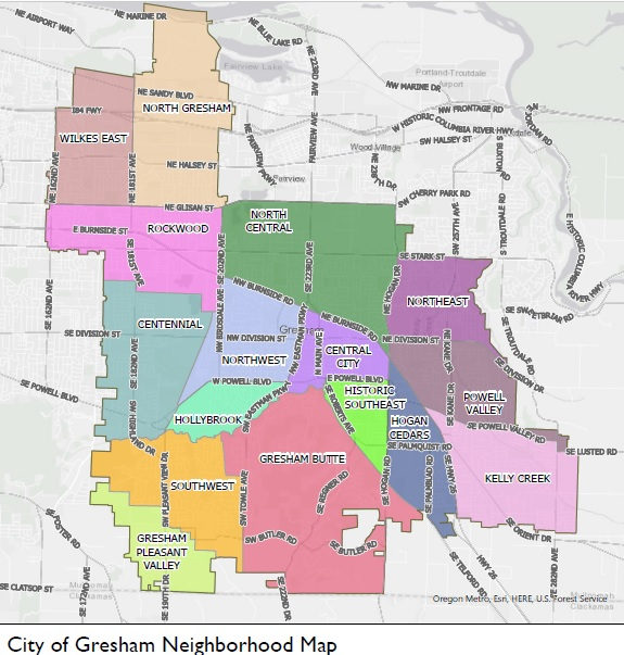 Click to view city of Gresham neighborhood map