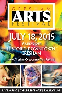 Art In The Heart of the City; Gresham Arts Festival: Sat Jul 18, 2015 9AM-5PM. More than 150 talented artists plus a Guinness World Record Event. Info here!