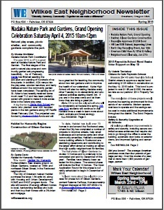 Spring 2015 Wilkes East Neighborhood newsletter. Click to view!