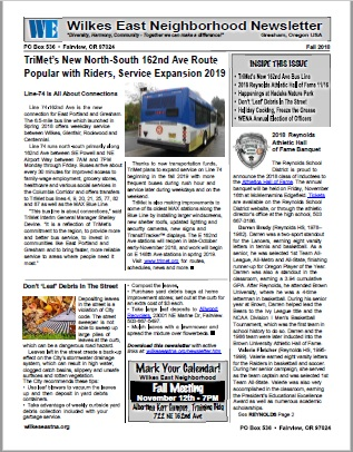 Download the Wilkes East Neighborhood Fall 2018 Newsletter here!
